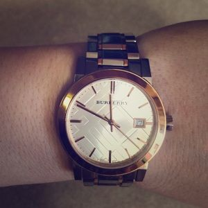 Burberry silver with rose gold watch